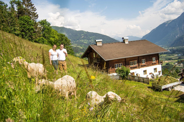 Schafe und Matthias und Theresa Kollnig vor dem Hof