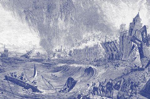 Eine zwölf Meter hohe Flutwelle trifft die Stadt gleich nach dem Ende des Bebens. Die Gewalt der Wassermassen zermalmt Schiffe, Bauten, Tiere, Menschen