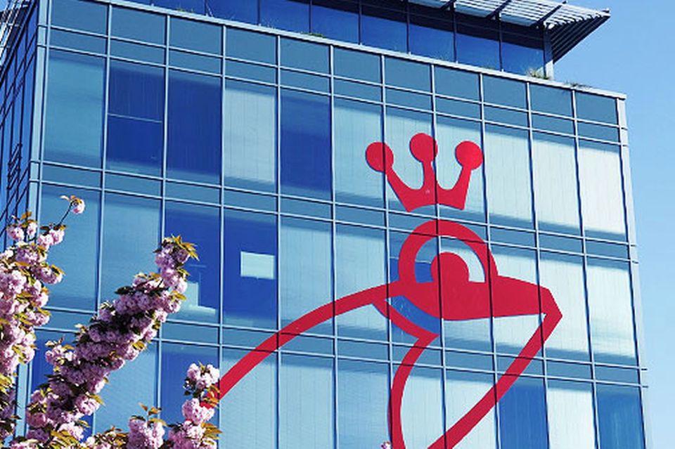 Nicht zu übersehen: Der rote Frosch auf dem Firmengebäude von Frosch in Mainz
