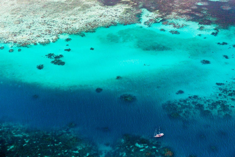Luftaufnahme des Great Barrier Reef in Australien