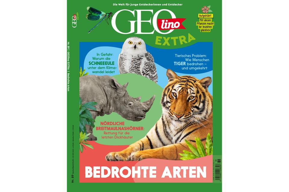 Das Cover von GEOlino Extra Nr. 89 - Bedrohte Arten