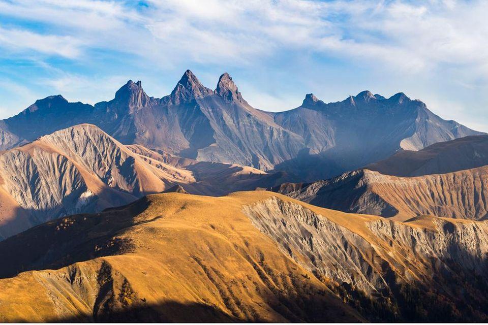 France, Savoie, Saint-Sorlin d'Arves, seen from the Croix de Fer pass (2064 m) on the Aiguilles d'Arves