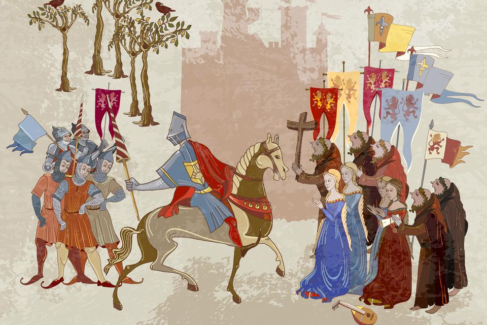 Mittelalterliche Szene auf Pergament