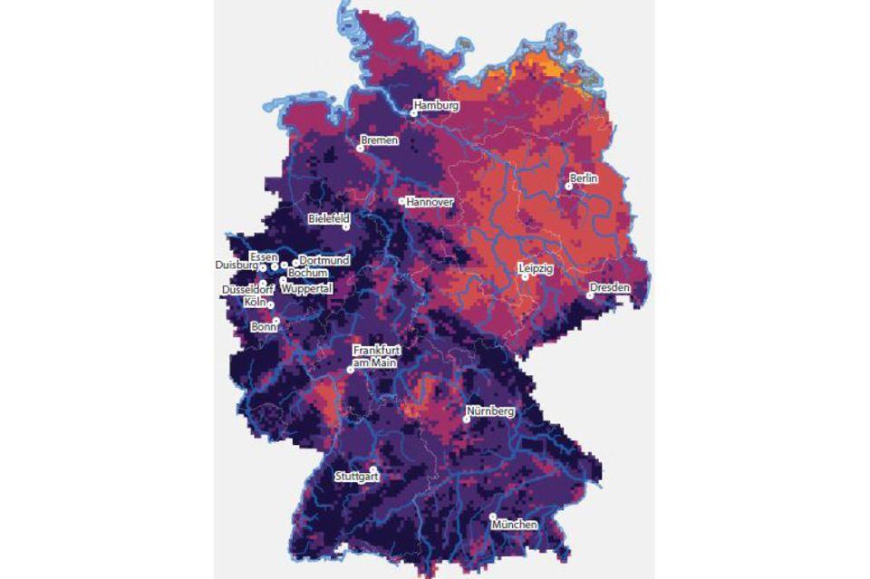 Diese Karte zeigt die Veränderungen gegenüber heute in den Regionen bis zum Ende des Jahrhunderts
