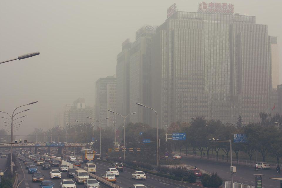 Smog in der Innenstadt von Peking