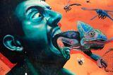 Grafitti zeigt einen Mann, der ein Chamäleon verschluckt