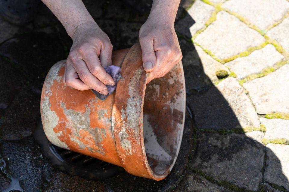 Mensch reinigt alten Blumen-Tontopf auf Pflastersteinen für den Garten