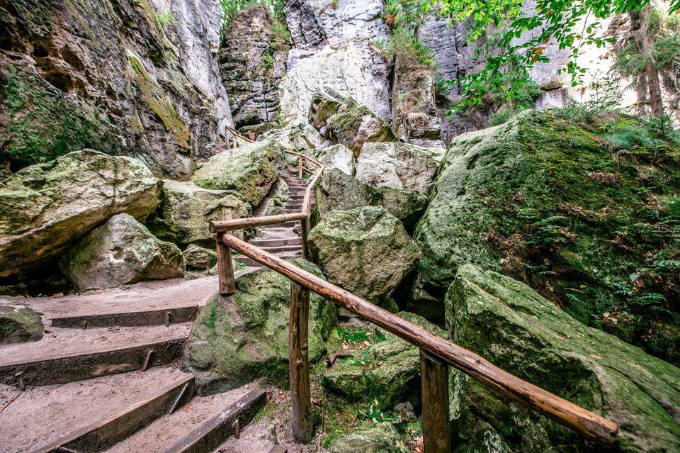 Immer schön auf den Wegen bleiben: Die Schwedenlöcher im Nationalpark Sächsische Schweiz