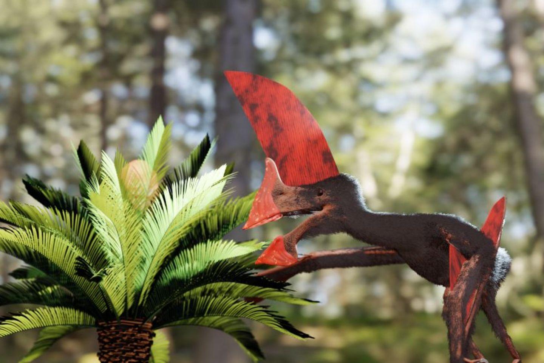 Künstlerische Darstellung eines Pterosauriers