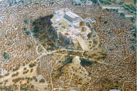 NahedemFelsender Akropolis liegt ein »Pnyx« genanntes natürliches Halbrund, in dem die Bürgerversammlungen stattfinden. Doch unter den Tausenden Teilnehmern fehlen viele Bewohner Athens: Frauen, Zuwanderer und Sklaven sind ausgeschlossen