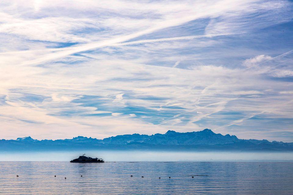 Fähre auf dem Bodensee zwischen Friedrichshafen und Konstanz