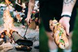Das Ergebnis waren gefüllte Stockbrote im Hot-Dog-Style. Dazu gab's Grill-Gemüse aus der Glut und frischen Sommer-Salat, zum Nachtisch eine süße Variante Teig vom Stiel