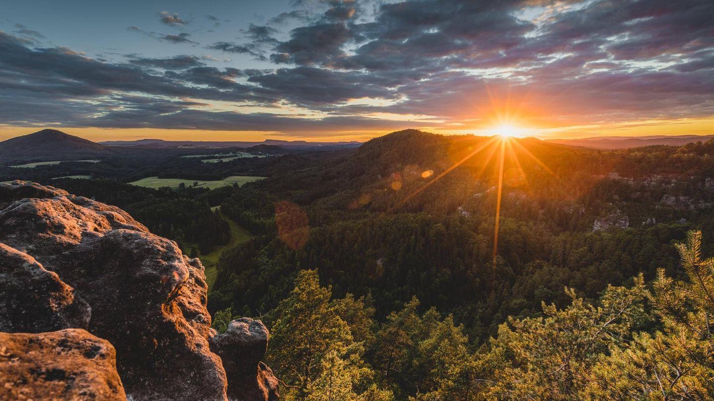 Böhmische Schweiz bei Sonnenuntergang
