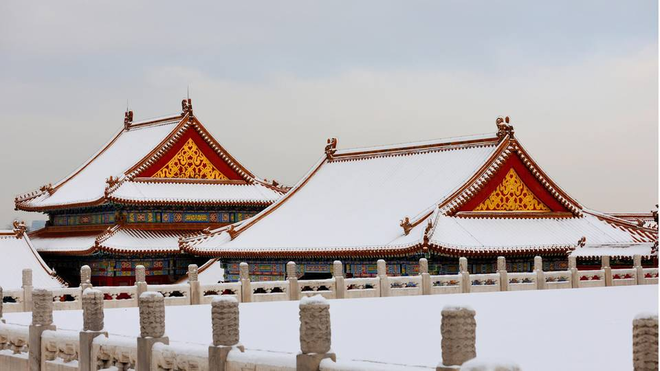 Schneebedeckte Dächer in der verbotenen Stadt, China