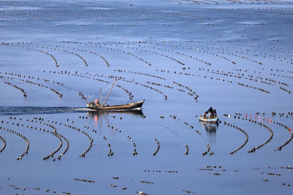 Fischerboote auf einer Aquafarm in der Provinz Liaoning