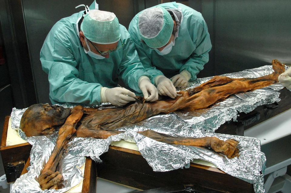 Zwei Wissenschaftler untersuchen die Mumie von Ötzi