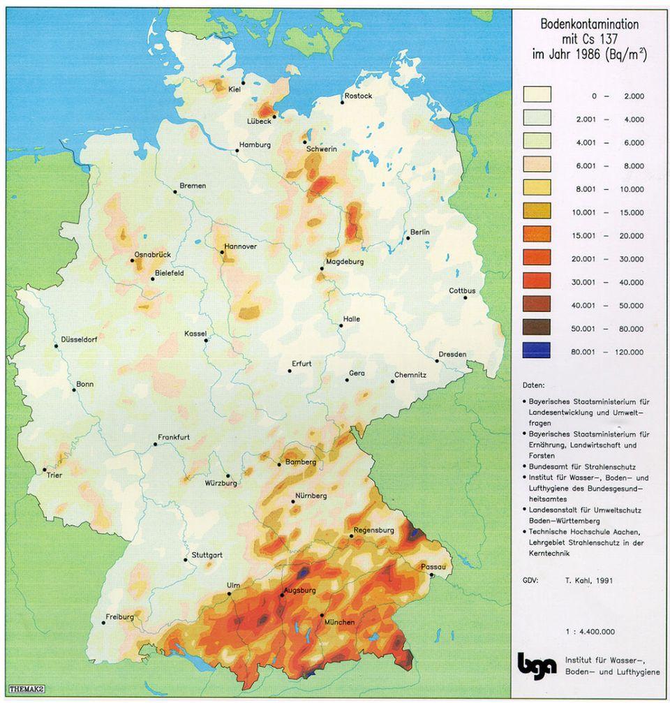 Bodenkontamination mit Cäsium-137 in Deutschland