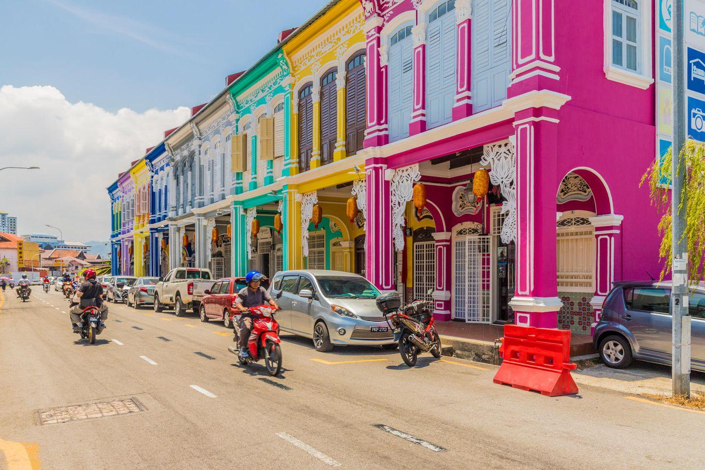 Bunte Häuser an der Kek Chuan Jalan Road