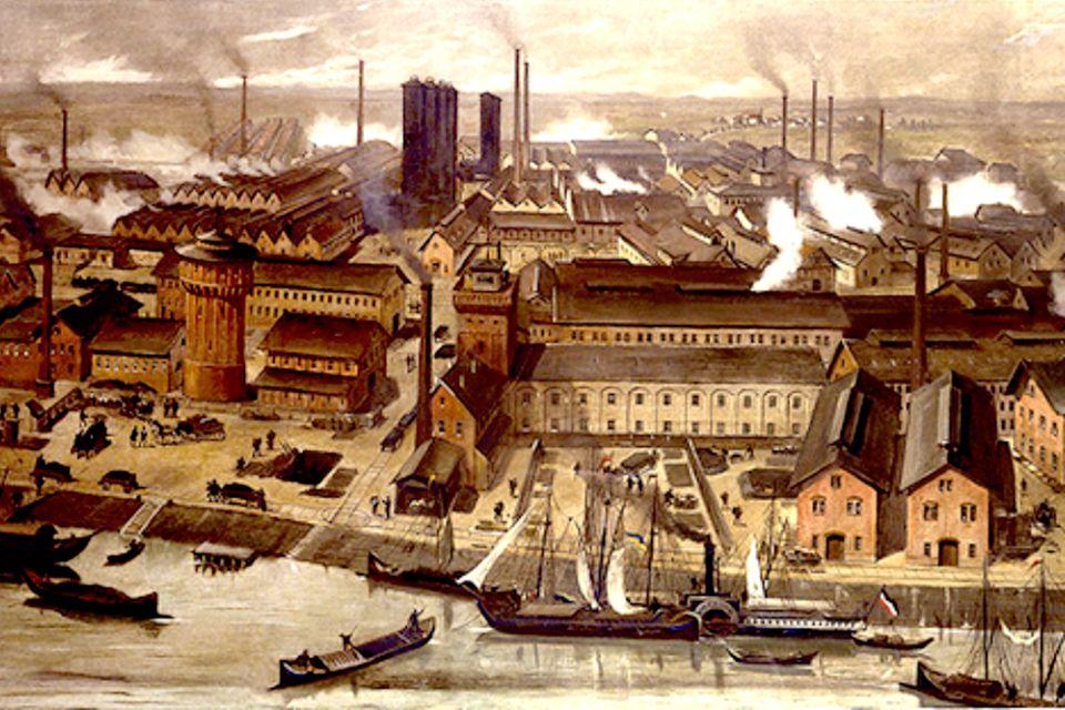 Dramatische Umweltverschmutzung: Allein die sechs Abwasserrohre der BASF-Werke in Ludwigshafen (hier 1881) pressen Sekunde für Sekunde 870 Liter verunreinigtes Wasser in den Rhein und verfärben ihnrot