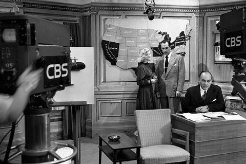 George Gallup ist in den USA so bekannt, dass er im Fernsehen seine Wahlprognosen präsentiert, hier 1948