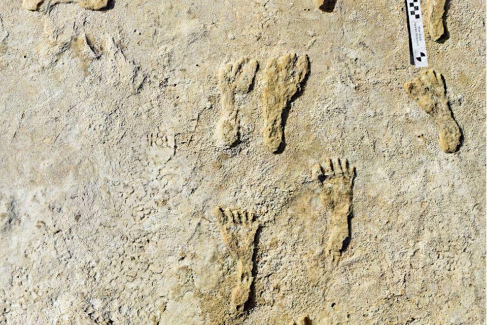 Fußspuren im Sand in White Sands