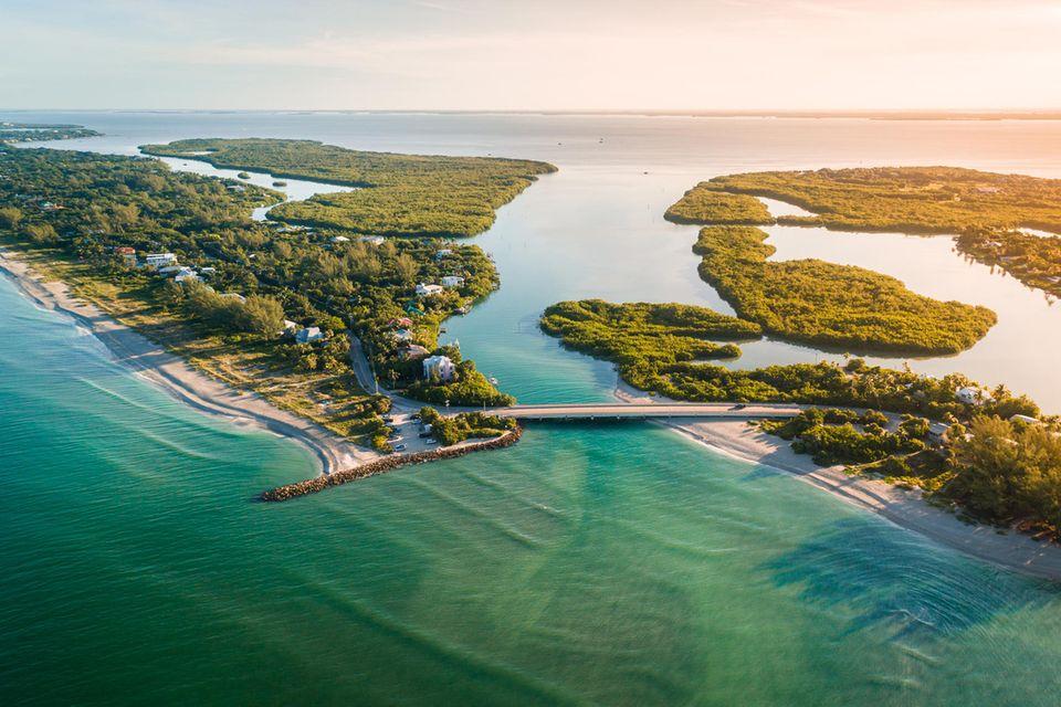 Luftaufnahme von Captiva Island bei Fort Myers in Florida, USA