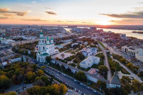 Sonnenuntergang über Astrachan
