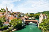 Baden am Fluss Limmat in der Schweiz