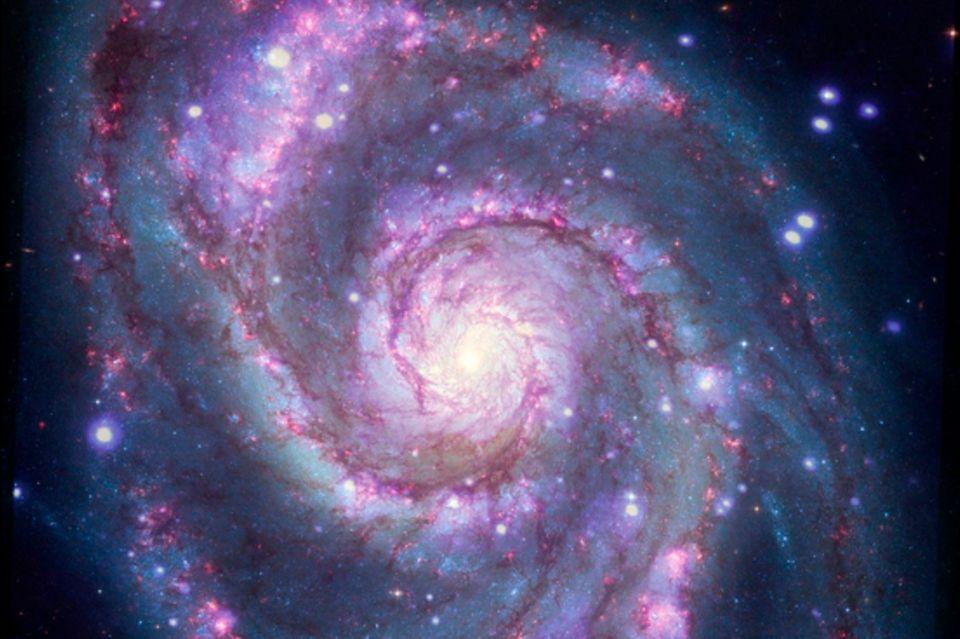 Dieses zusammengesetzte Bild zeigt die 23 Millionen Lichtjahre entfernteGalaxie M 51